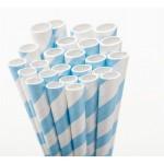 Powder Blue Stripe Paper Straws - 50 Ct.
